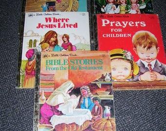 Religious Golden Books  Christian Golden Books Set of 5 1970s Vintage