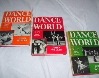 Dance World by John Willis  1966, 1967, 1968  HC/DJ  Dance Ballet Photography Dance History Book Vintage