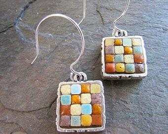 b31944dc0 Mosaic Earrings, Mosaic Jewelry, Mosaic Art, Wearable Art, Moroccan Tile,  Silver jewelry