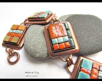 Mosaic Art Jewelry - Antique Copper Link Bracelet, Moroccan Ceramic Tiles, Natural, Vegan