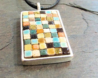 Mosaic Rectangle Pendant, Mosaic Jewelry, Mosaic Art, Pewter Pendant, Art Jewelry