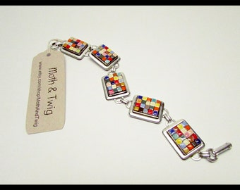 Mosaic Art Bracelet, Pewter, Fine Silver, Moroccan Tiles, Multi-colored