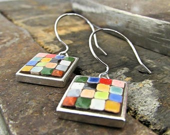 Mosaic Earrings, Mosaic Jewelry, Mosaic Art, Miniature mosaic, Pewter earrings