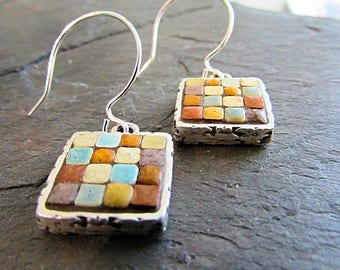 Mosaic Earrings, Mosaic Jewelry, Mosaic Art, Wearable Art, Moroccan Tile, Silver jewelry
