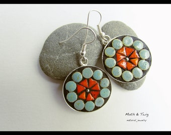 Mosaic Art Jewelry - Dangle Earrings, Moroccan Ceramic Tiles, Turquoise, Orange