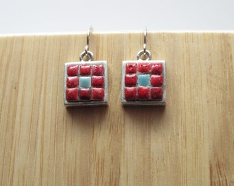 Mosaic earrings, Mosaic Jewelry, Mosaic Art, Moroccan Tiles, Pewter