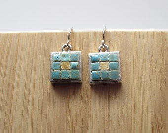 Mosaic Jewelry, Mosaic Earrings, Mosaic Art, Turquoise, Pewter, Sterling Silver