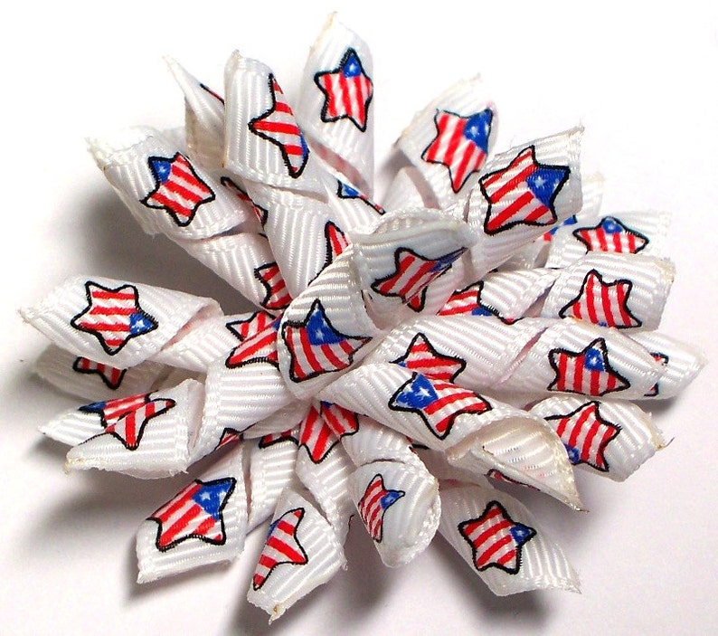 dog bows in Patriotic theme ribbons Dog hair accessories Star Barrette Stars