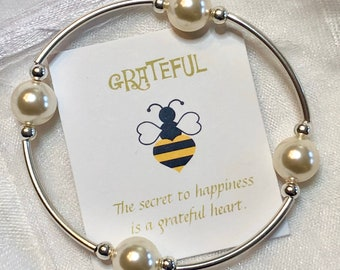 Gratitude Bracelet— Sterling/Pearl