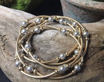 Grateful Pearls Gray/14kfGold-- Set of 5