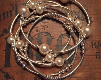 Grateful Pearls Stackables--Cream/Sterling Set of 5
