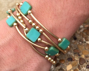 Turquoise Czech Glass Tiles and 14k Gold Filled Set