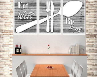 Delicieux Eat Well Be Happy, Kitchen Wall Art, Kitchen Decor, Kitchen Print, Modern  Kitchen Decor, Shabby Chic Decor, Shabby Chic, Modern Kitchen Art