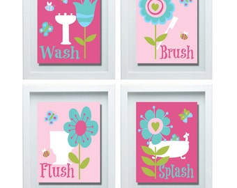 Wash Brush Flush Splash, Bathroom Rules, Girl Bathroom Decor, Bathroom Wall  Art, Girl Bathroom Decor, Flower Wall Art, Flower Decor