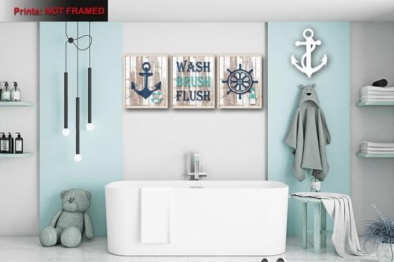 Wash Brush Flush Lakehouse Decor Nautical Bathroom Decor Etsy