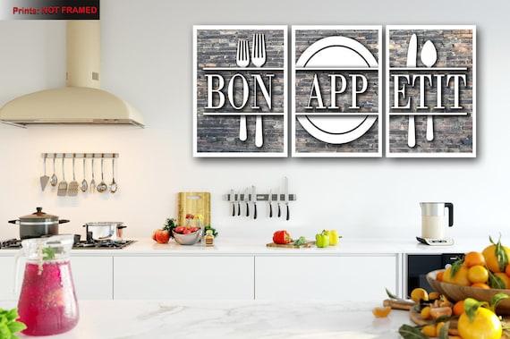 Bon Appetit Print Kitchen Wall Art Kitchen Wall Decor Etsy
