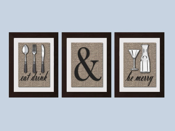 Shabby Chic Kitchen Wall Art, Eat Drink And Be Merry Print, Kitchen Decor,  Kitchen Wall Art, Rustic Kitchen Decor, Modern Kitchen Art