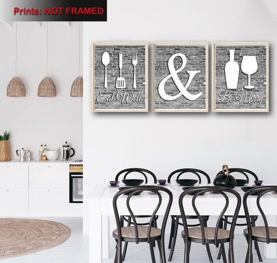 Gray And White Kitchen Wall Art Eat Well Be Merry Print Etsy