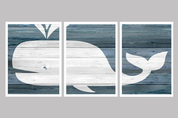 Shabby Chic Beach Decor Shabby Chic Wall Decor Whale Wall | Etsy