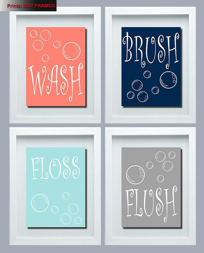 Wash Brush Floss Flush Bathroom Rules Print Kids Bathroom Decor Kids Bathroom Wall Art Kids Bathroom Rules Wash Brush Floss Flush Print