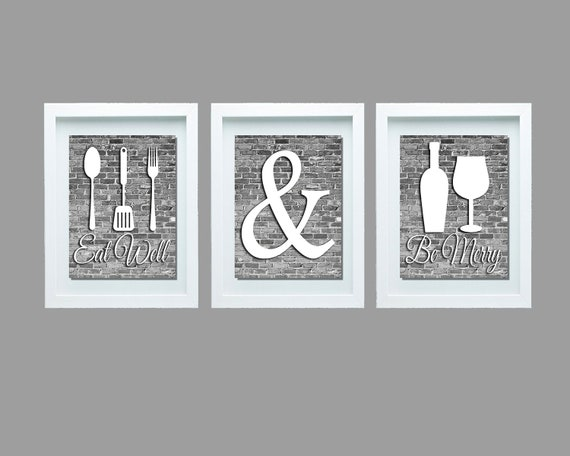 Gray And White Kitchen Wall Art Eat Well And Be Merry Print Etsy
