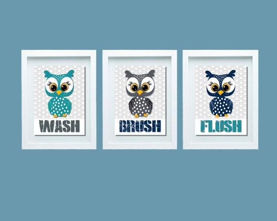 Owl Bathroom Decor Owl Bathroom Set Bathroom Rules Wash Brush Flush Kids Bathroom Decor Kids Bathroom Wall Art Kids Bathroom Art