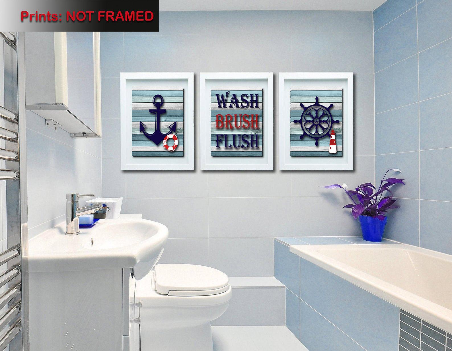Wash Brush Flush Lakehouse Decor, Lake House Bathroom Wall Decor