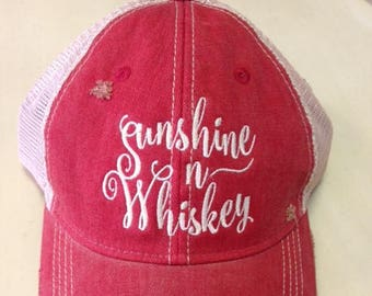 Sunshine n Whiskey Red Ball Cap