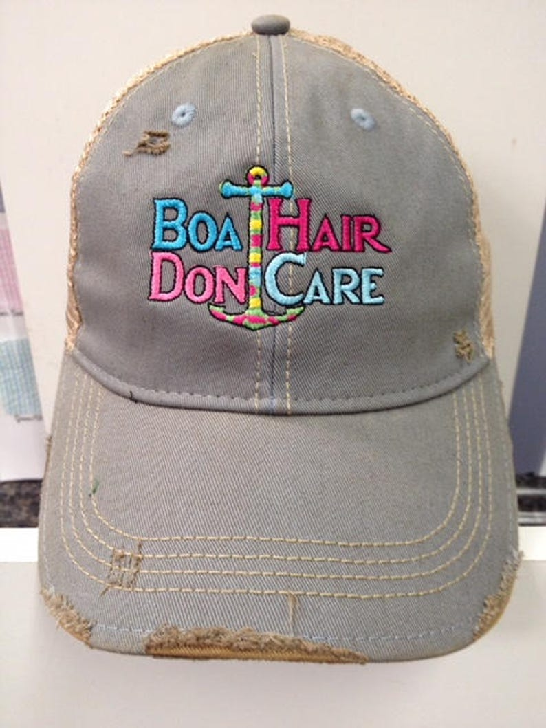 Boat Hair Don't Care Distressed Ball Cap image 0
