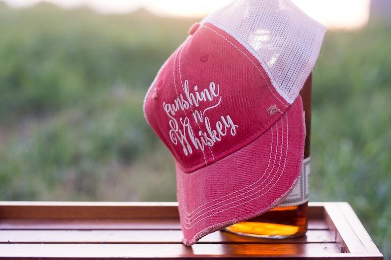Sunshine n Whiskey Red Trucker Cap image 0