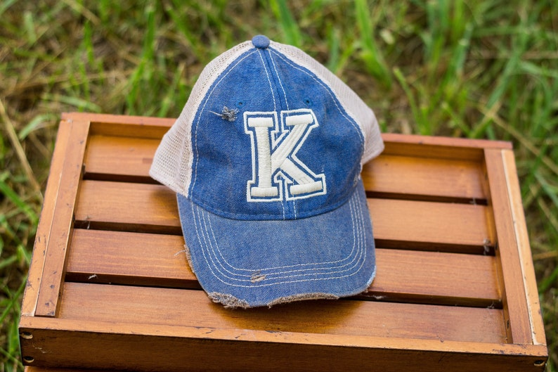 Kentucky K Ball Cap K Distressed Cap Kentucky Hat image 0