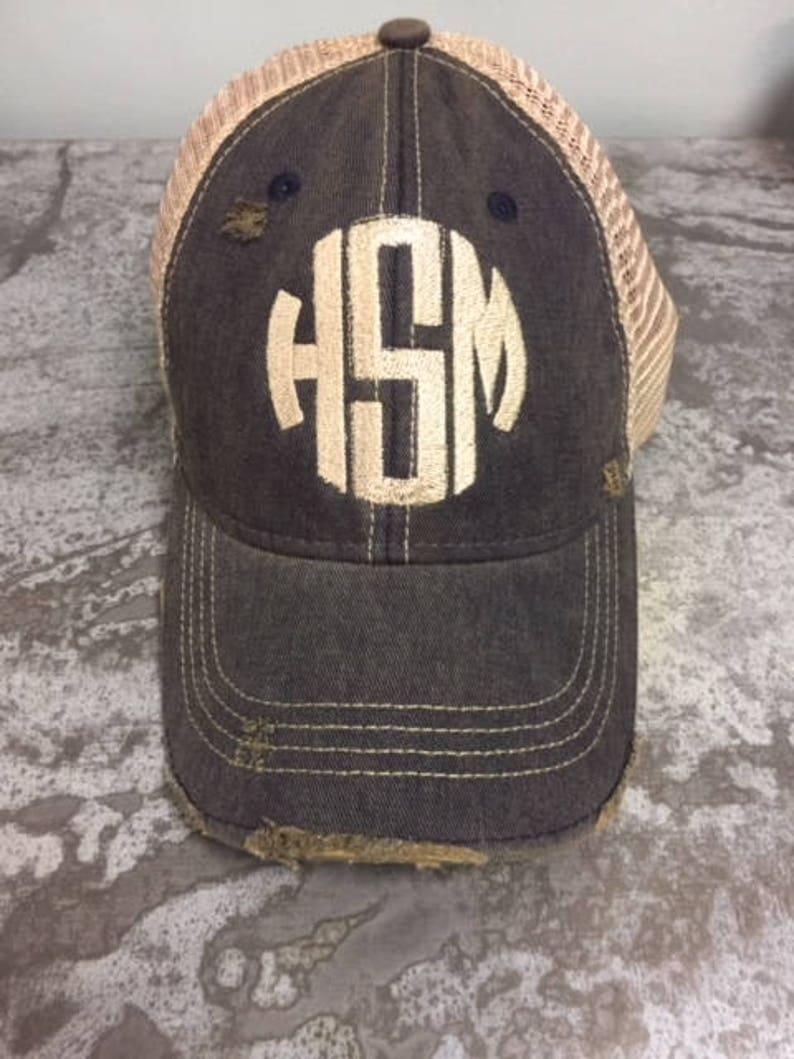 Circle Monogram Distressed Trucker Cap image 0