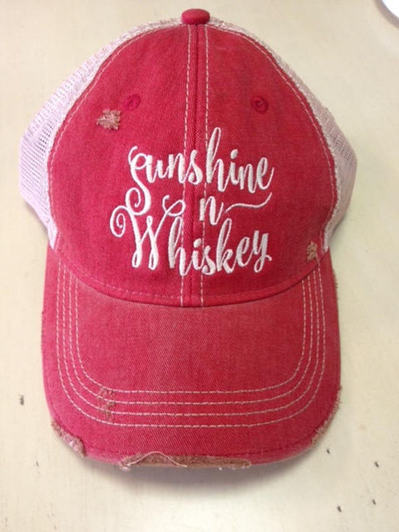 Sunshine n Whiskey Red Ball Cap image 0
