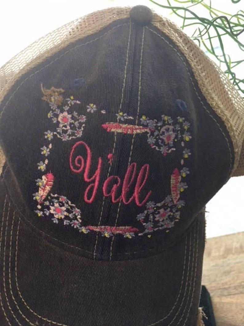 Y'all Sassy Distressed Ball Cap image 0