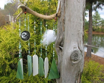 NFL New York Jets' stained glass wind chime
