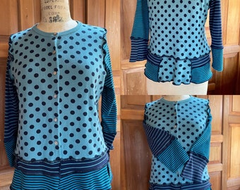 Upcycled recycled repurposed Pima cotton sweater and cotton tees. Shades of navy and  teal. Stripes and polka dots. Size M/L.
