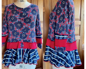 Upcycled recycled repurposed lightweight cotton flouncy cardigan. Loose & comfy with 3/4 sleeves. Perfect for these summer eves.