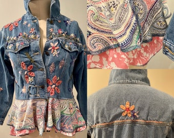 Upcycled repurposed denim jean jacket with double peplum. Beautiful embroidered denim jean jacket repurposed with cotton tees and sweaters.