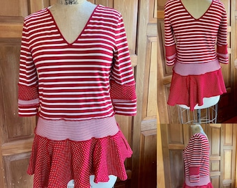 Upcycled recycled red and white cotton tunic. Deep vee front and back. Stripes and dots.