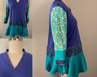 Repurposed upcycled recycled cotton XL peplum tunic.