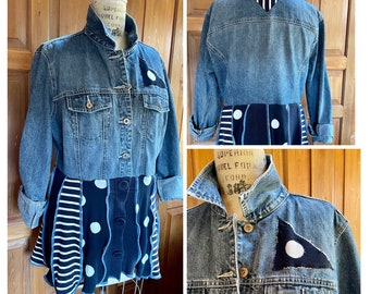 Repurposed upcycled recycled denim jacket with cotton sweater skirt and belt. XL