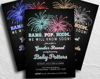 fourth of july gender reveal invitation 4th of july bang pop boom custom invitation printable file