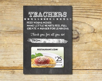 Teacher Appreciation, Thank You, Gift Card Holder, End of School, Printable, Chalkboard