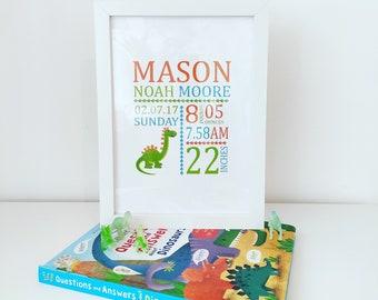 Custom personalized children's Dinosaur birth print