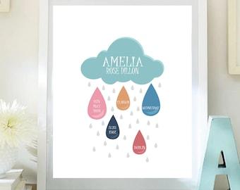 Custom personalised children's print Rain Cloud