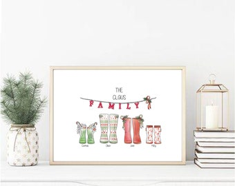 Christmas family boot print personalized