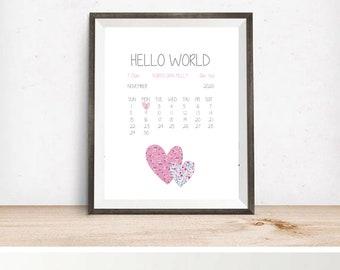 Hello World personlized birth print