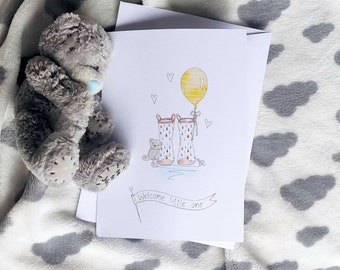 New baby welly boot print greetings card
