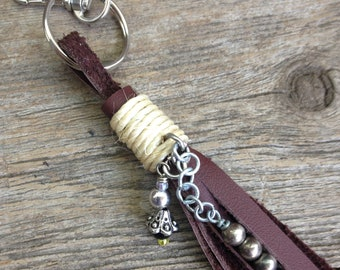 Bag Charm, Tasseled Key Ring, Bag  Dangle,  Leather Tassel Key Chain, Zipper Pull, Tassel Key Fob,  Tassel Key chain for Women, USA.