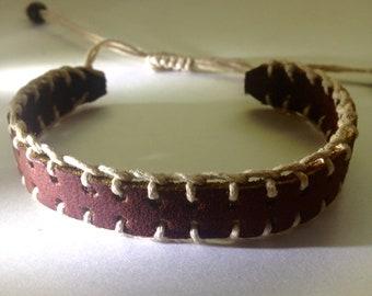 Brown Leather Bracelet, Hippie Bracelet, Boho, Gypsy, Leather Bracelet, Macrame Bracelet, Handmade Jewelry, Hippie Jewelry, Boho Jewelry